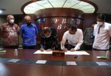 Badan Pengusahaan (BP) Batam bersama Lion Air melakukan penandatanganan addendum perjanjian kerja sama pengelolaan lahan MRO Batam Aero Technic, Rabu (14/4/2021) bertempat di Marketing Centre BP Batam.