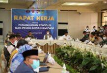 BNPB gelar Raker, bahas penanganan Covid-19 dan pemulangan PMI atau WNI, pada Senin (19/4/2021) sore di Ruang Tunggu Keberangkatan A2 Bandara Hang Nadim Batam.