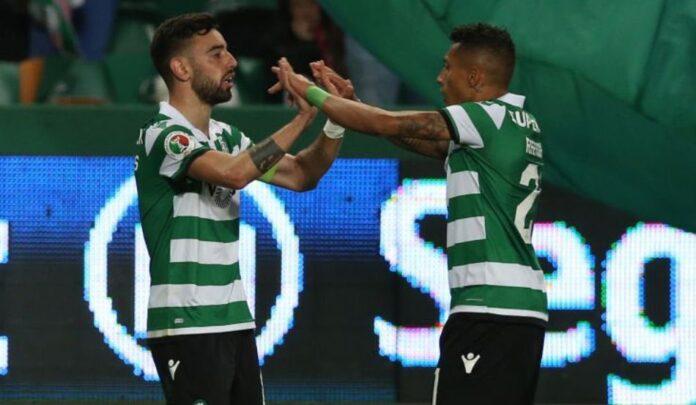 Bruno Fernandes (kiri) dan Rapinha saat keduanya masih berseragam Sporting Liston di Liga Portugal.