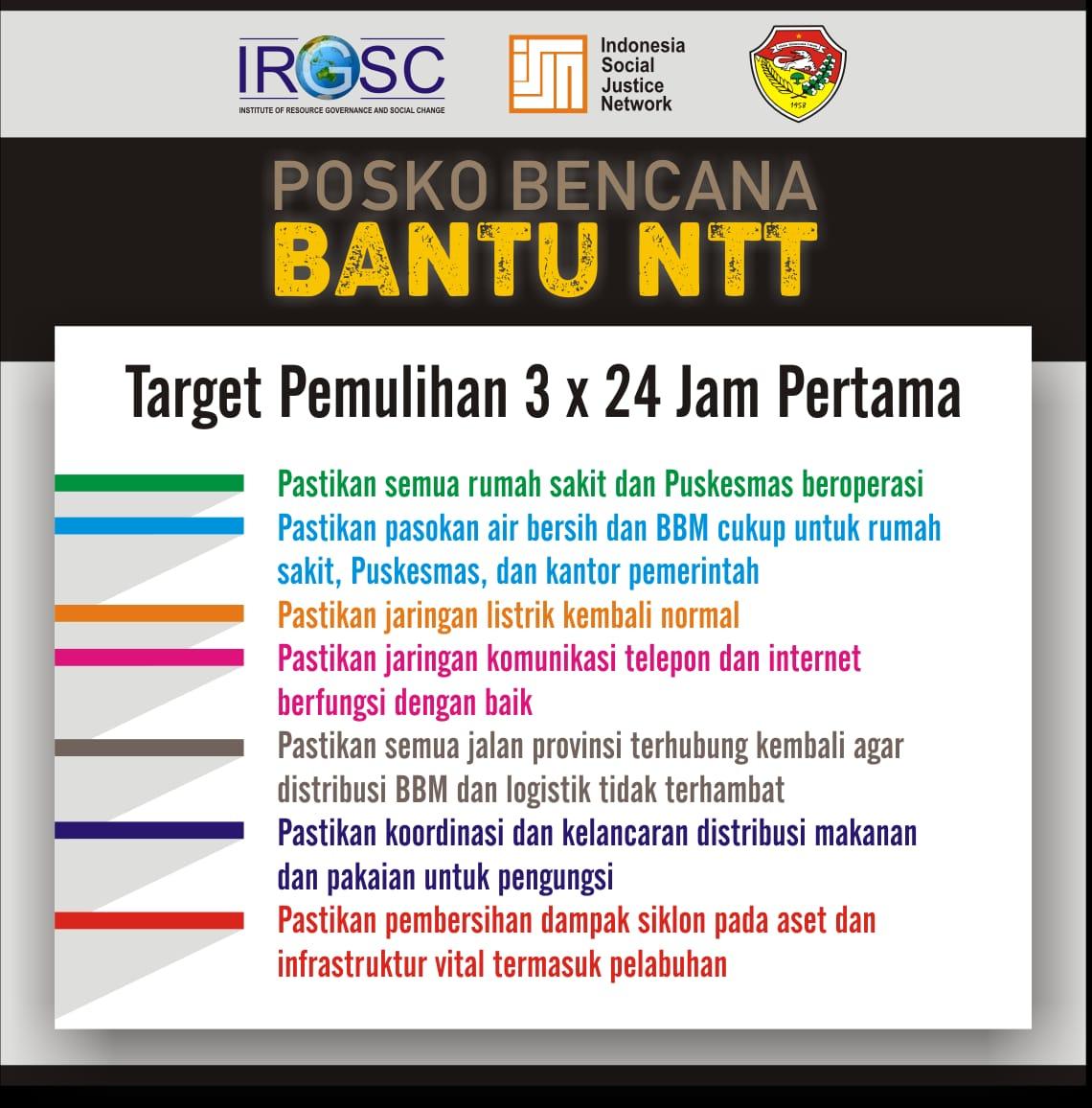 Target Pemulihan NTT dalam 3x24 jam.