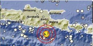 Gempa 6.7M di Malang, Sabtu (10/04/2021) / twitter BMKG