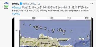 Gempa Magnitudo 5.5 di Malang, Minggu