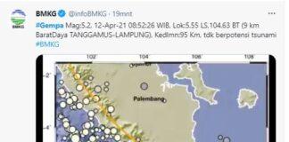 Gempa Magnitudo 5,2 Terjadi di Lampung