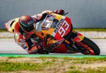 Pada Selasa (16/3/2021), Marc Marquez menjajal Sirkuit Barcelona-Catalunya menaiki motor Honda RC213V-S, motor jalanan yang terinspirasi oleh tunggangannya di dunia MotoGP.(INSTAGRAM.com/marcmarquez93)