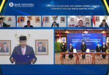 Gubernur Bank Indonesia (BI), Perry Warjiyo, saat melantik tiga pemimpin baru satuan kerja Kantor Pusat Bank Indonesia secara virtual di Jakarta, Rabu (31/3/2021). (Foto: Dok Bank Indonesia)