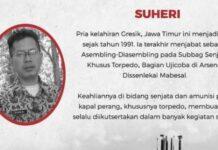 Suheri, merupakan seorang PNS di lingkungan TNI-AL yang turut gugur dalam tugas latihan penembakan torpedo di perairan Selat Bali, Rabu (21/4/2021)
