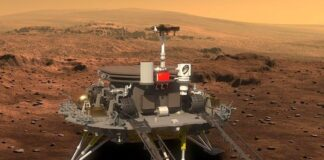 Zhurong, kendaraan penjelajah milik China yang berhasil mendarat di Mars.(CNSA via BBC)