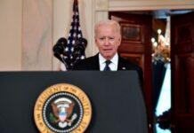 Presiden AS Joe Biden menyampaikan pidato tentang Timur Tengah di Cross Hall Gedung Putih, di Washington, DC pada Kamis 20 Mei 2021. (Nicholas Kamm / AFP via Times of Israel)