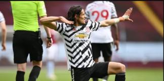 Perayaan khas Edinson Cavani usai membobol gawang Aston Villa dalam kemenangan 3-1 MU di Villa Park, Minggu (9/5/2021). Foto dari Premierleague.com