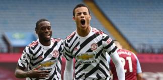 Striker belia Manchester United Mason Greenwood (depan) merayakan gol bersama sang pemberi assist, Aaron Wan-Bissaka, saat mencetak gol kedua yang membuat Setan Merah berbalik unggul 2-1 atas Aston Villa di Villa Park, Minggu (9/5/2021). Foto dari Premierleague.com.