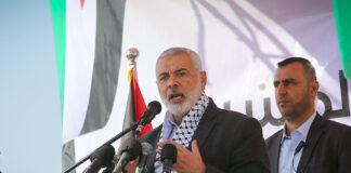 Pemimpin politik Hamas Ismail Haniyeh pada upacara peletakan batu pertama Kompleks Medis Rafah di Rafah, Jalur Gaza selatan pada 23 November 2019. (Abed Rahim Khatib / Flash90)