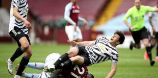 Harry Maguire cedera betis akibat tabrakan dengan Anwar El Ghazi. (Foto dari Sky Sports)