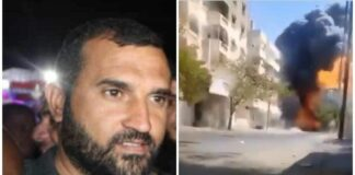 Jet Angkatan Udara Israel menewaskan Hasan Abu-Harbid, Senin (17/5/2021). Dia disebut sebagai pemimpin operasi dominan Jihad Islam selama 15 tahun terakhir. IDF mengatakan bahwa Abu-Harbid berada di balik penembakan, peluncuran roket, dan peluru kendali anti-tank yang melukai warga sipil Israel. Kanan: lokasi Abu-Harbid ditembak mati. (Foto dari Kurir.rs)
