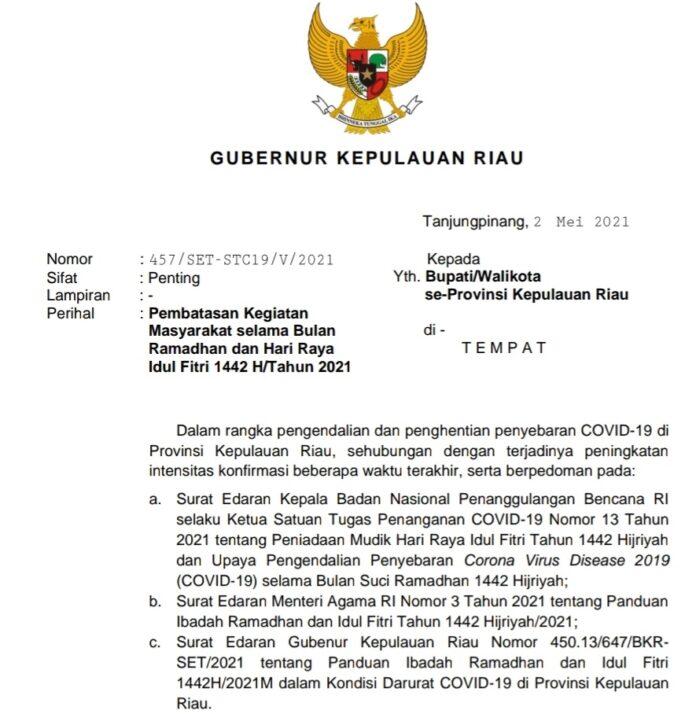 Surat Edaran Gubernur Kepri