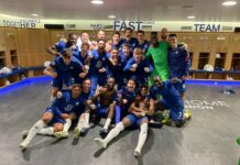 Para pemain Chelsea berpose di ruang ganti usai memastikan diri lolos ke final Liga Champions 2020/21. Mereka akan berhadapan dengan sesama klub Inggris Manchester City yang akan berlangsung pada 29 Mei 2021 di Stadion Olimpiade Ataturk, Istanbul, Turki.(Foto dari Twitter)