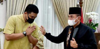 Foto Pertemuan Bobby dan Gubsu Edy di rumah dinas Gubsu Edy: Dok. Kominfo sumut
