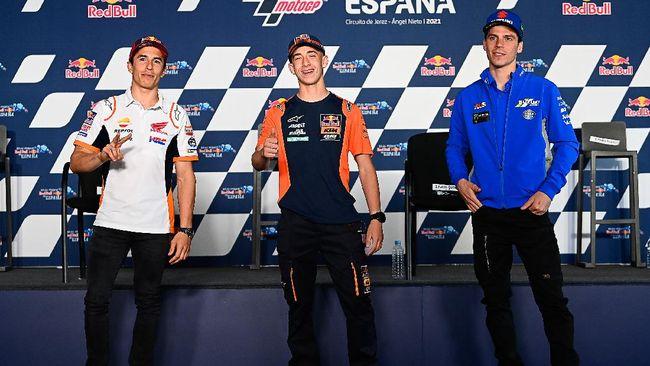 Marc Marquez bersama beberapa pembalap dalam konferensi pers MotoGP Spanyol 2021. (Foto: Dorna Sports)