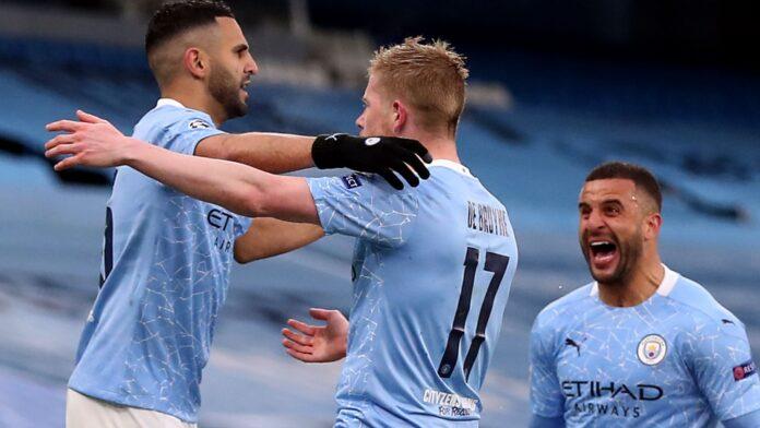 Dua gol Riyad Mahrez (kiri) mengirim Man City ke final Liga Champions pertama mereka. (Foto dari Sky Sports)