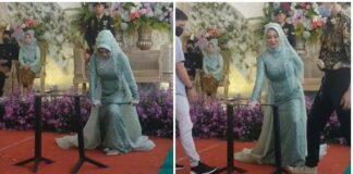 Aksi pengantin wanita yang tunjukkan aksi patahkan besi di depan tamu. (Sumber: TikTok/noto_moto)