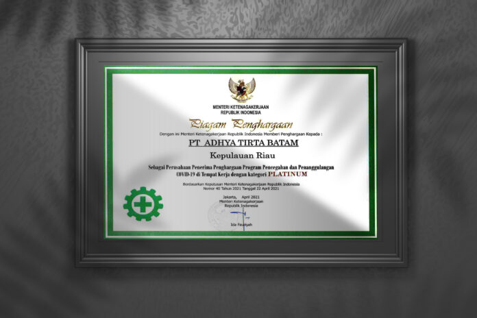 ATB Mendapatkan penghargaan dari Kementerian Tenaga Kerja sebagai perusahaan dengan program pencegahan adn penanggulangan COVID-19 di tempat kerja dengan kategori Platinum.