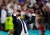 Reaksi pelatih Inggris Gareth Southgate saat Inggris mengalahkan Jerman 2-0 pada Babak 16 Besar EURO 2020 di Stadion Wembley, London, Selasa (29/6/2021). (Uefa)