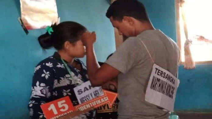 Proses reka ulang kasus dugaan pembunuhan di Kabupaten Rote Ndao. foto: ist