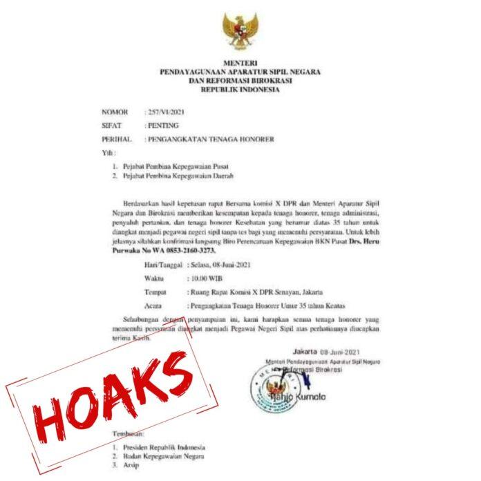 Beredar surat palsu mengenai pengangkatan honorer berusia 35 tahun ke atas. Kementerian PANRB menyatakan surat ini palsu alias hoaks. (Foto: Humas Kementerian PANRB)