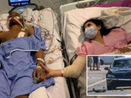 Chanté tetap menggenggam tangan Shakur (kiri) yang sudah kehilangan nyawanya pada hari Jumat. Kini Chanté sedang menunggu operasi lanjutan. (Foto: BPM MEDIA via daily mail)