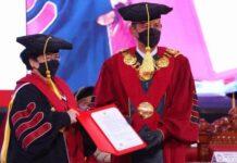 Megawati Soekarnoputri dikukuhkan sebagai Profesor Guru Besar Tidak Tetap Ilmu Pertahanan bidang Kepemimpinan Strategik Universitas Pertahanan Republik Indonesia.