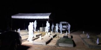 Foto Suasana pemakaman oleh satgas Covid-19 Tanjungpinang.