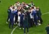 Para pemain Italia merayakan kemenangan 2-1 atas Belgia pada perempat final EURO 2020 di Fussball Arena, Munich, Jerman, Jumat (2/7/2021) atau Sabtu dinihari waktu Indonesia. Selanjutnya Italia akan berhadapan dengan Spanyol di semi final.(Foto: UEFA)