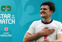"""Harry Maguire menjadi Star of the Match kontra Jerman di babak 16 Besar EURO 2020. """"Dia seorang pemimpin"""" – Jurgen Klinsmann terpesona oleh Harry """"Mustang"""" Maguire saat bek Inggris mendominasi Jerman di Euro 2020. (Uefa.com)"""