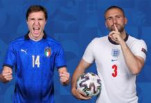 Penyerang vs pertahanan Federico Chiesa melawan Luke Shaw. (UEFA.com)