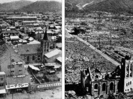 Kota Hirosima sebelum dan sesudah dibom atom. foto: net