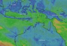 Tangkapan layar prospek tiupan angin dari Australia ke arah Pulau Timor dan Rote Ndao pada Minggu 8 Agustus 2021 di situs Windy.com. (Suryakepri.com)