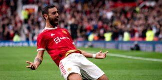 Bruno Fernandes melakukan selebrasi usai mencetak gol ketiga Man Utd. (Foto dari Skysports)