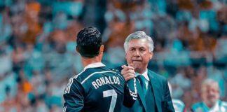 Cristiano Ronaldo dan Carlo Ancelotti semasa keduanya masih bersama di Real Madrid. (Foto dari Twitter)