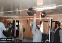 Tangkapan layar video para milisi Taliban bersenang-senang di gym istana kepresidenan Afghanistan setelah mereka menguasainya. (Suryakepri.com)