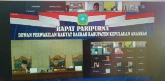 Dewan Perwakilan Rakyat Daerah (DPRD) Kabupaten Kepulauan Anambas melaksanakan Rapat Paripurna Persetujuan Bersama DPRD dan Kepala Daerah Tentang Rancangan Pada RPJMD Tahun 2021 - 2026, Jumat (13/08/21).