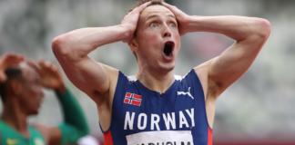 Karsten Warholm dari Tim Norwegia bereaksi setelah memenangkan medali emas di Final Larintang 400m Putra pada hari ke-11 kompetisi Olimpiade Tokyo 2020 di Stadion Olimpiade pada 3 Agustus 2021 di Tokyo, Jepang. (Foto oleh Michael Steele/Getty Images via Olympics.com)