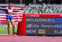 Sydney McLaughlin meraih medali emas Olimpiade Tokyo 2020 dengan catatan waktu 51,46 detik, melewati rekor dunia sebelumnya (51,90 detik) atas namanya sendiri. (Foto dari USAToday)