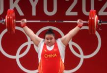 Wenwen Li dari China berlaga dalam cabang Angkat Besi - Grup A 87kg+ Putri pada hari kesepuluh Olimpiade Tokyo 2020 di Tokyo International Forum, Senin 2 Agustus 2021 di Tokyo, Jepang. (Foto Chris Graythen/Getty Images via Olympics.com)