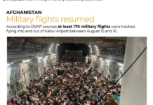 Sekitar 640 warga Afghanistan di dalam pesawat militer AS dalam perjalanan ke Qatar tersebar di media sosial. (Foto dari Al Jazeera)