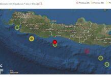 Gempa Bumi M4.8 mengguncang wilayah selatan Pulau Jawa, Senin (9/8/2021). Gambar: EMSC