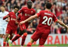 Diogo Jota dan Sadio Mane merayakan gol kedua Liverpool yang dicetak Mane di Anfield pada pekan kedua Liga Inggris 2021/22, Sabtu (21/8/2021). (Foto: liverpoolfc.com)