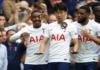 Penyerang Tottenham Hotspur Son Heung-min melakukan selebrasi bersama rekan setimnya usai membobol gawang Manchester City pada pekan pertama Liga Premier 2021/22 di Tottenham Hotspur Stadium, Minggu (15/8/2021). (Foto dari premierleague.com)