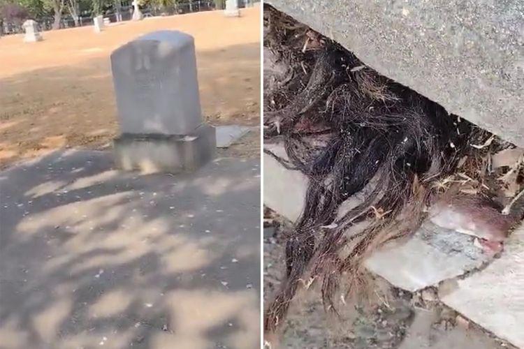 Menyeramkan, Ada Sebuah VIdeo Rambut Yang Keluar Dari Kuburan Tua