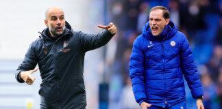 Pep Guardiola (kiri) dan Thomas Tuchel. Kedua manajer akan kembali adu taktik pada pekan ke-6 Liga Premier Inggris 2021/22 di Stamford Bridge, Sabtu (25/9/2021). (Foto dari Optus Sport)