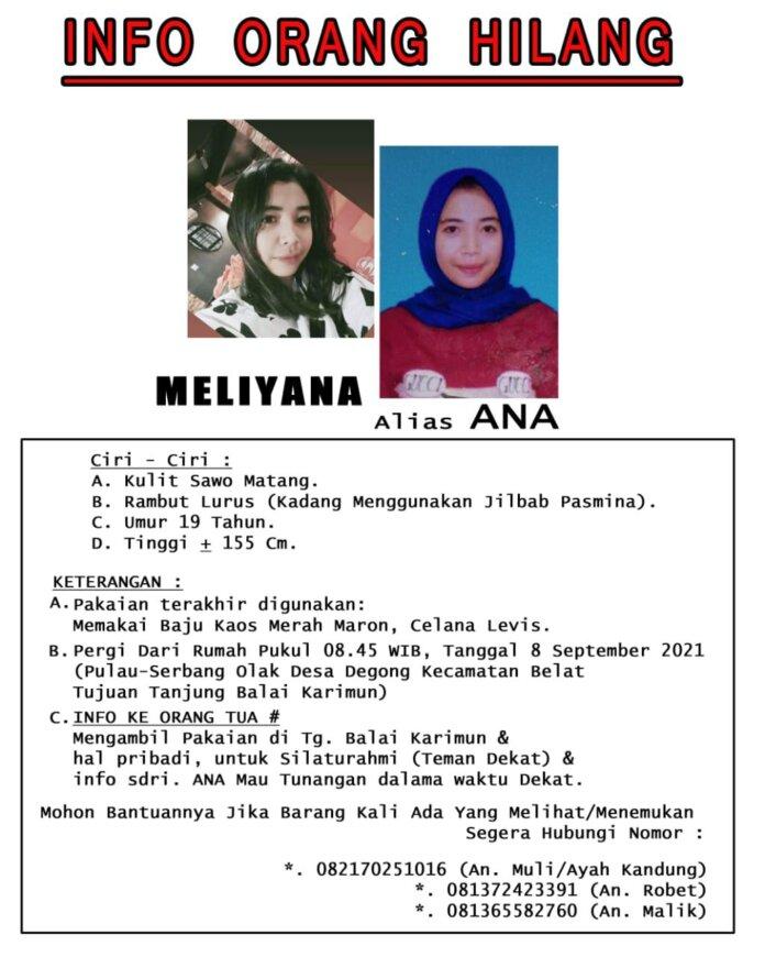 Meliyana alias Ana (19), asal Kecamatan Belat, Karimun dikabarkan hilang tanpa kabar sudah 4 hari. Padahal Ana mau melangsungkan pertunangan dalam waktu dekat. Foto Suryakepri.com/IST