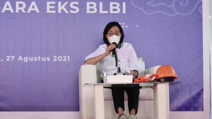 Foto: Menteri Keuangan Sri Mulyani di acara Penguasaan Aset Eks BLBI oleh Satgas BLBI (Tangkapan Layar Youtube Kemenkeu RI)